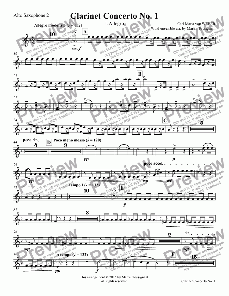 page one of the Alto Saxophone 2 part from Clarinet Concerto No. 1