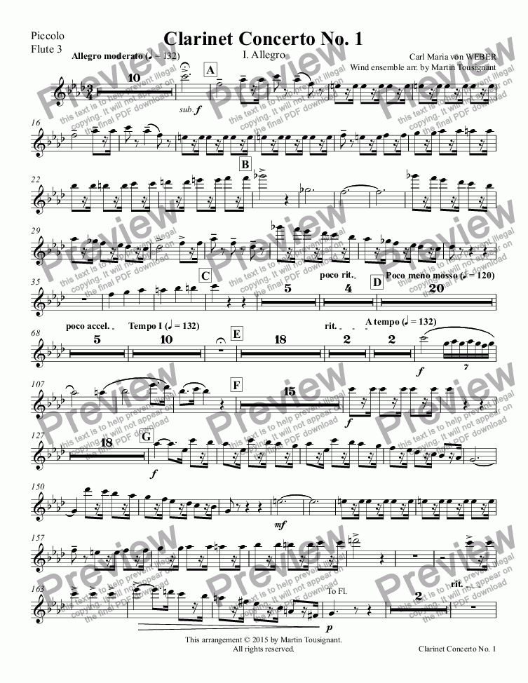page one of the Piccolo, Flute 3 part from Clarinet Concerto No. 1