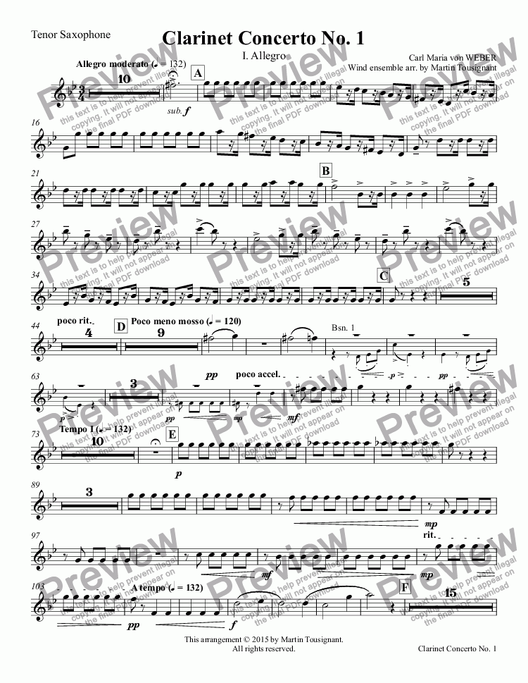 page one of the Tenor Saxophone part from Clarinet Concerto No. 1