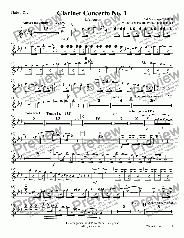 page one of the Flute 1 & 2 part from Clarinet Concerto No. 1