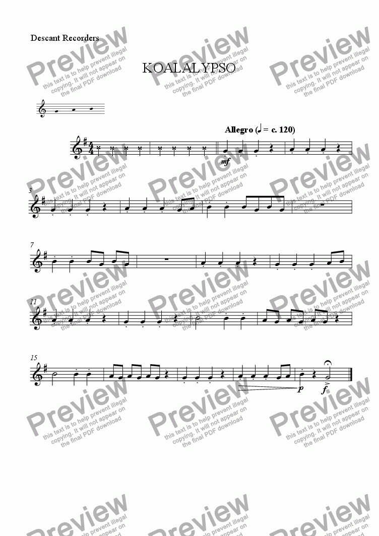 page one of the Recorder part from Koalalypso and Friends (7. Orangutango)