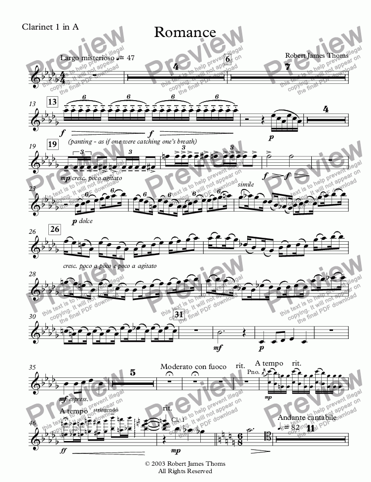 page one of the Clarinet 1 in A part from  Romance
