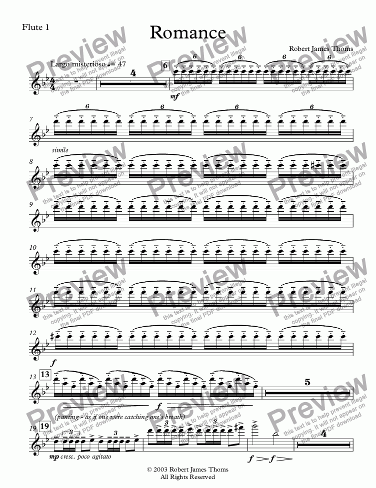 page one of the Flute 1 part from  Romance