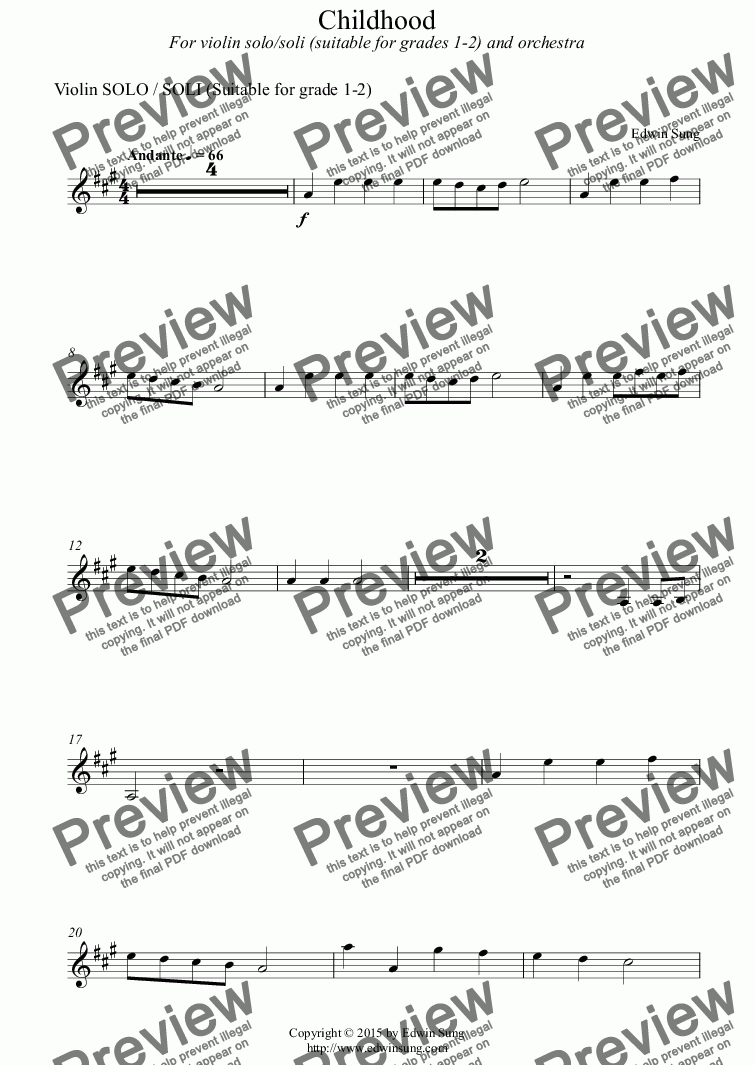 page one of the Violin SOLO / SOLI (Suitable for grade 1-2) part from Childhood (for violin solo/soli (grades 1-2) and orchestra) (151VNOR01)