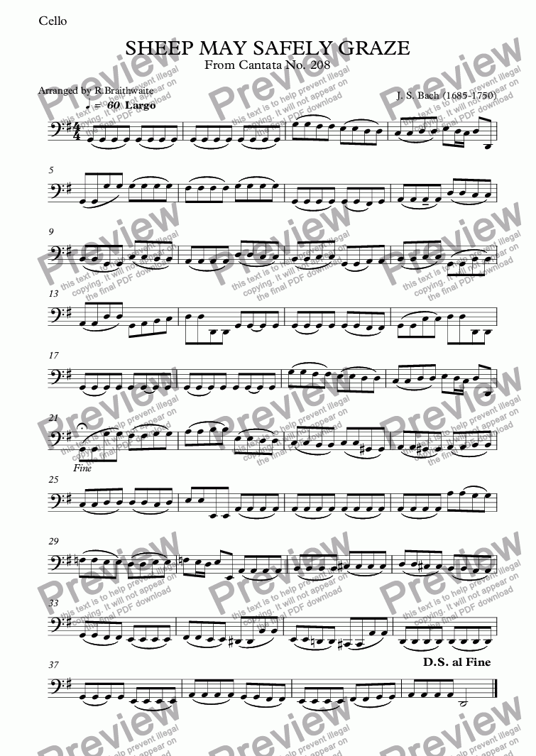 page one of the Cello part from SHEEP MAY SAFELY GRAZE