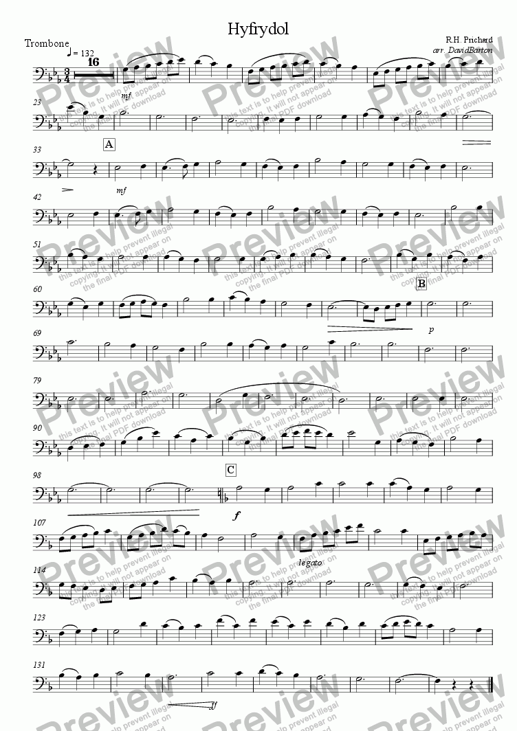 "page one of the Trombone part from ""Hyfrydol"" for Brass Quartet"
