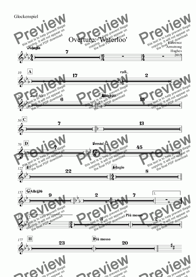 page one of the Glockenspiel part from Overture: 'Waterloo'