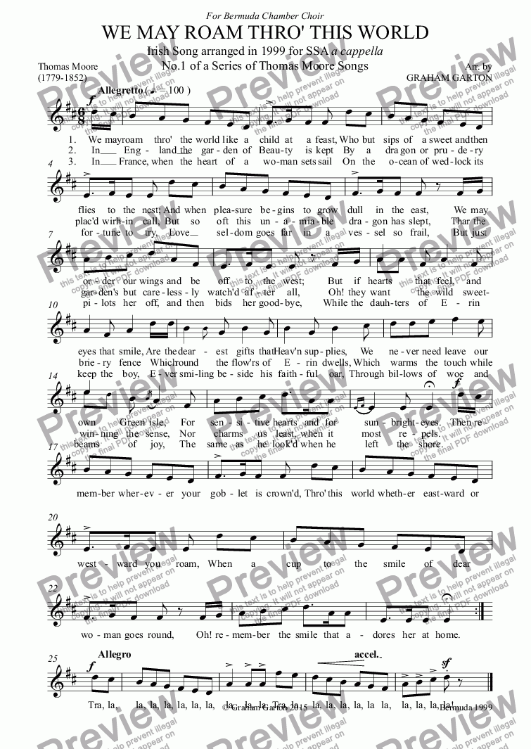 page one of the S.1 part from PART-SONG - 'WE MAY ROAM THRO' THIS WORLD' THOMAS MOORE (1759-1852) No.1 Arr. for SSA a cappella (From set of 11 PART-SONGS)