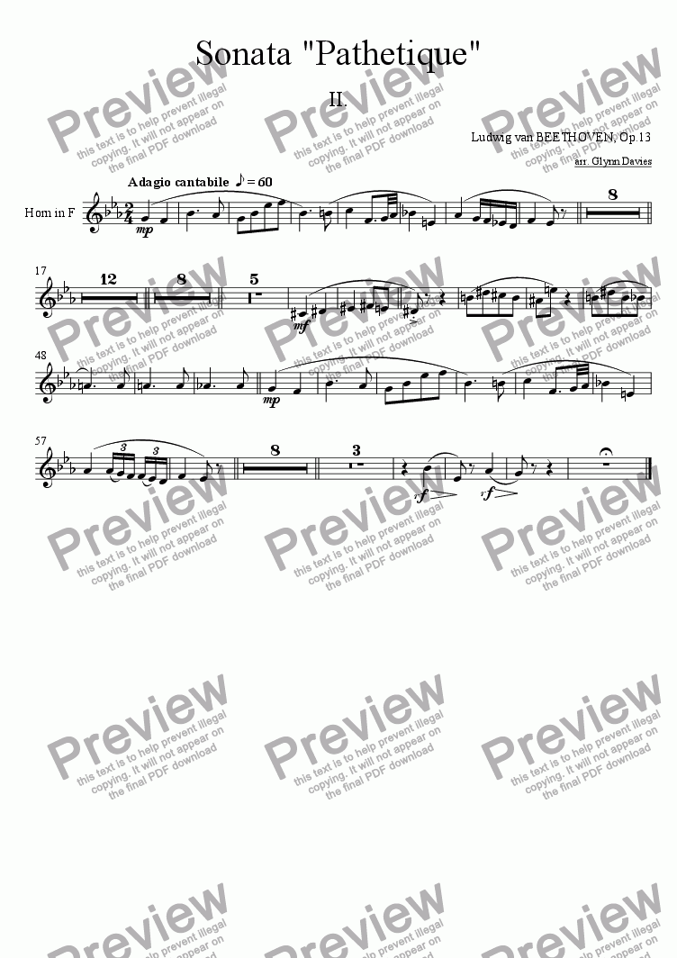 "page one of the Horn in F part from Sonata ""Pathetique"" Op.13 - 2. Adagio cantabile"