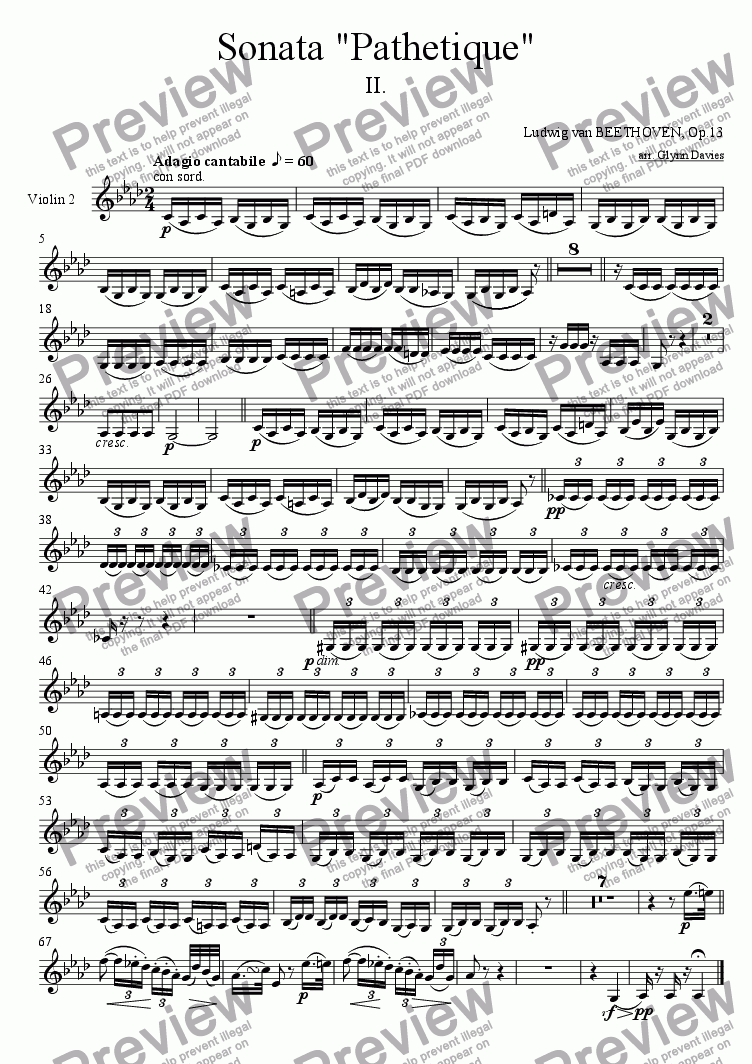 "page one of the Violin 2 part from Sonata ""Pathetique"" Op.13 - 2. Adagio cantabile"