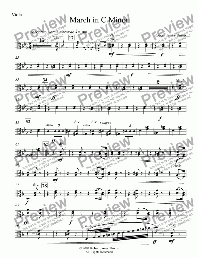 page one of the Viola part from  March in C Minor