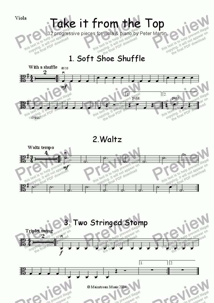 page one of the Viola part from Take it from the Top - Viola