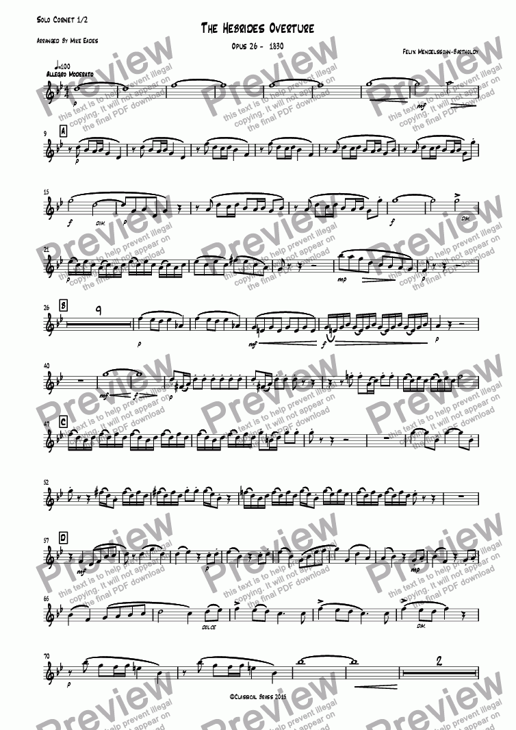 page one of the Solo Cornet 1/2 part from The Hebrides Overture