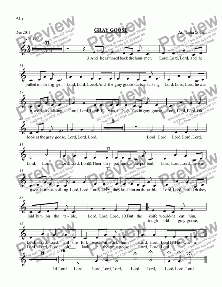 page one of the Alto part from GREY GOOSE