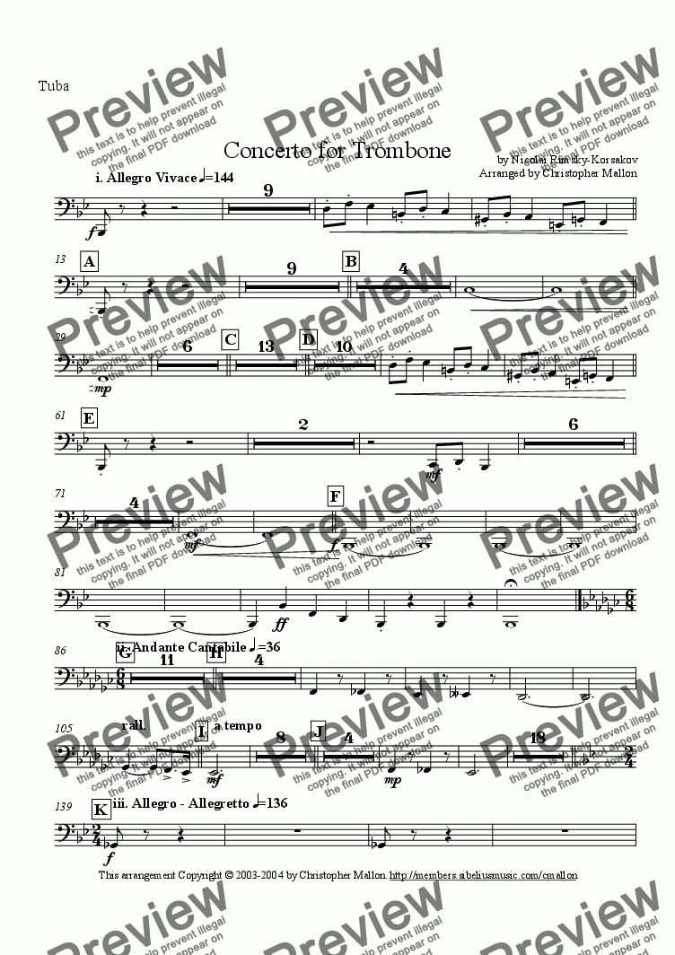 page one of the Tuba part from Concerto for Trombone and Orchestra