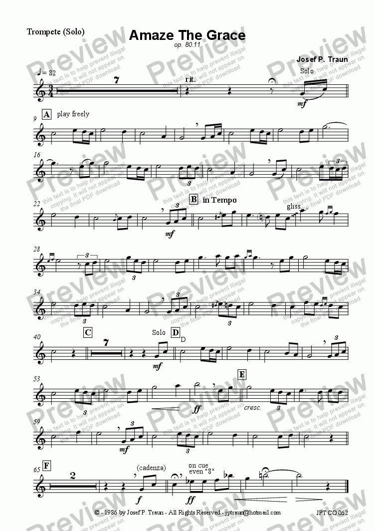 page one of the Trumpet (Solo) part from Amaze The Grace (JCO/Score & Parts)