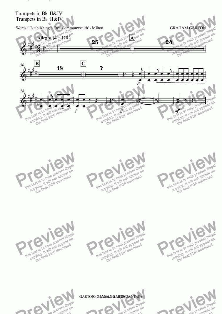 "page one of the Trumpets in B^b^ II&IV part from Magna Carta Cantata - No.4 - Full Score - CHORUS (SATB) - ""TO MAKE THE PEOPLE FITTEST TO CHOOSE"""