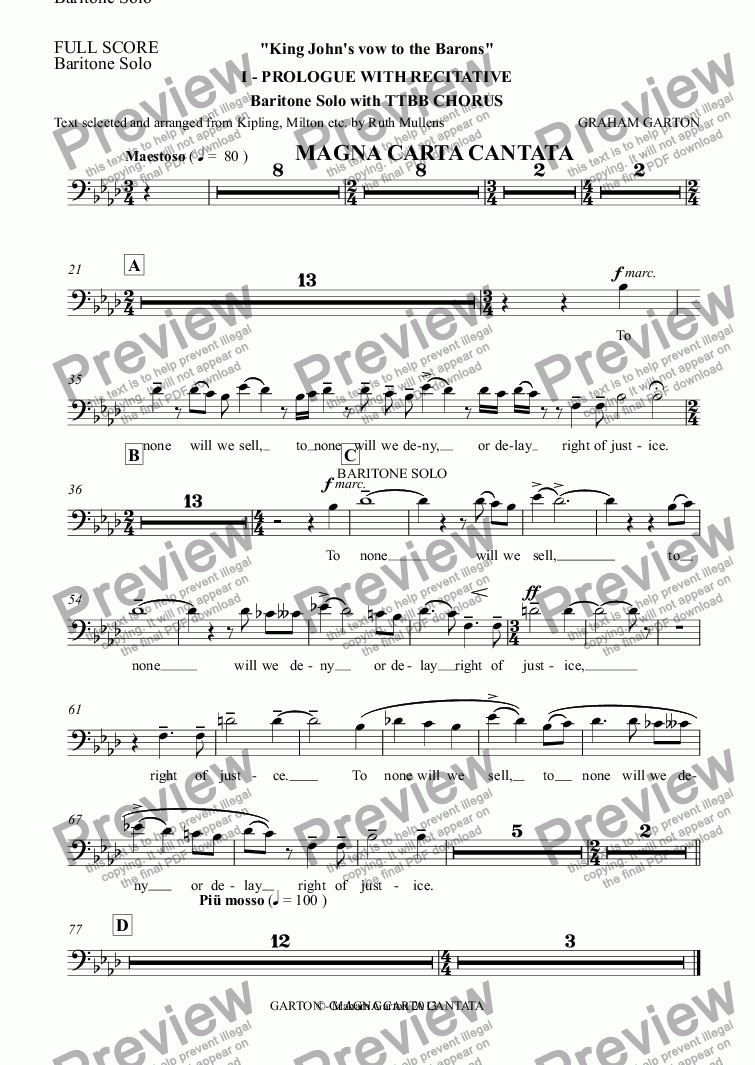 page one of the Baritone Solo part from Magna Carta Cantata - No.1 - Full Score - PROLOGUE WITH RECITATIVE Full Score - 'King John's vow to the Barons' baritone Solo with TTBB Chorus