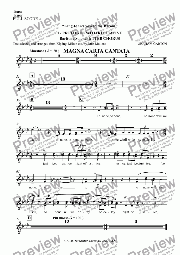 page one of the Tenor part from Magna Carta Cantata - No.1 - Full Score - PROLOGUE WITH RECITATIVE Full Score - 'King John's vow to the Barons' baritone Solo with TTBB Chorus