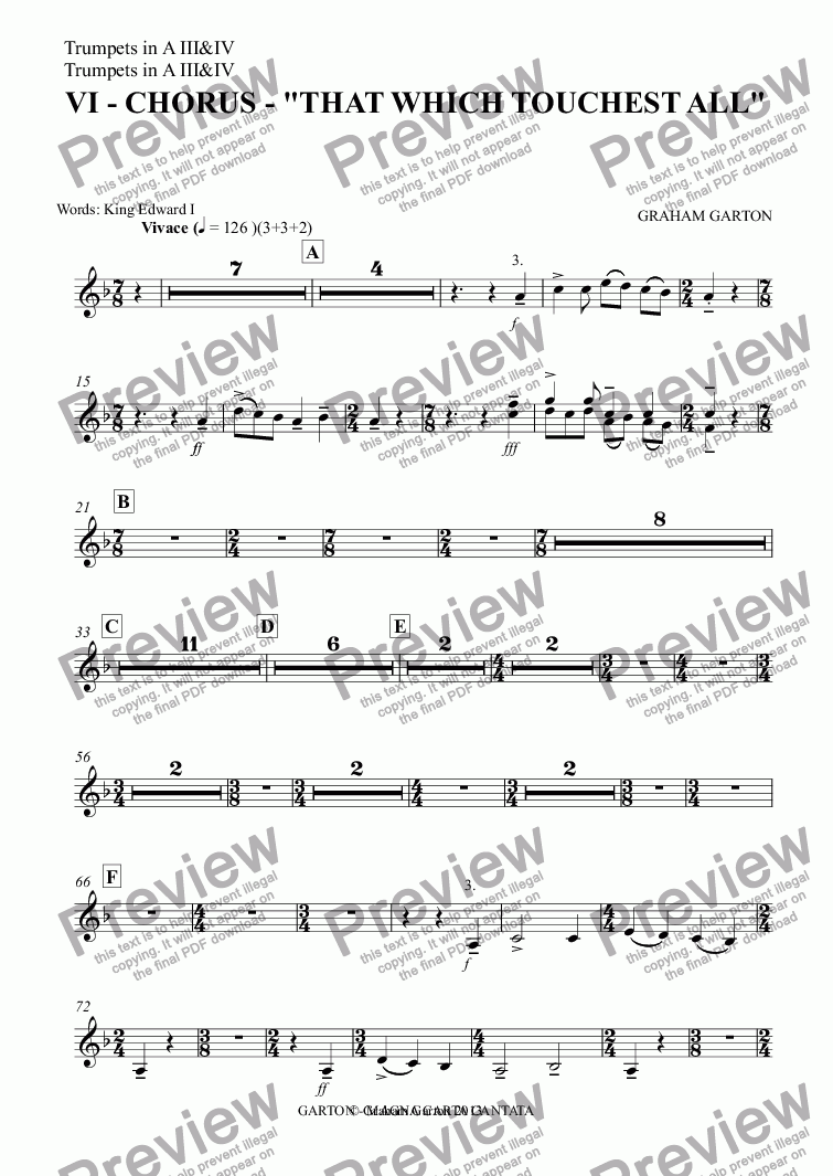 "page one of the Trumpets in A III&IV part from Magna Carta Cantata - No.6 - Full Score  - VI - CHORUS - ""THAT WHICH TOUCHEST ALL"""