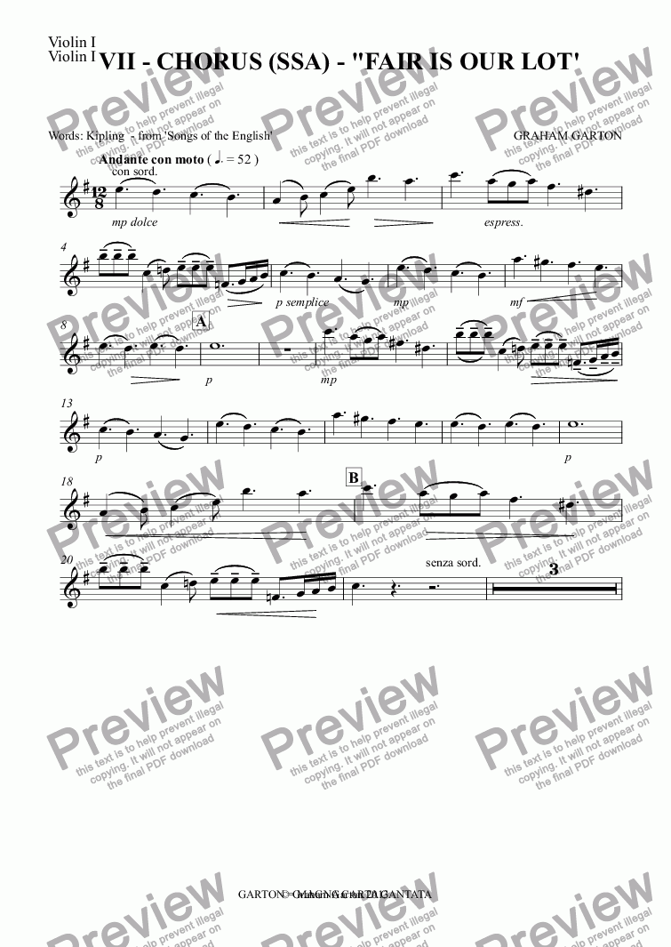 "page one of the Violin I part from Magna Carta Cantata - No.7 - Full Score - CHORUS (SSA) - ""FAIR IS OUR LOT'"