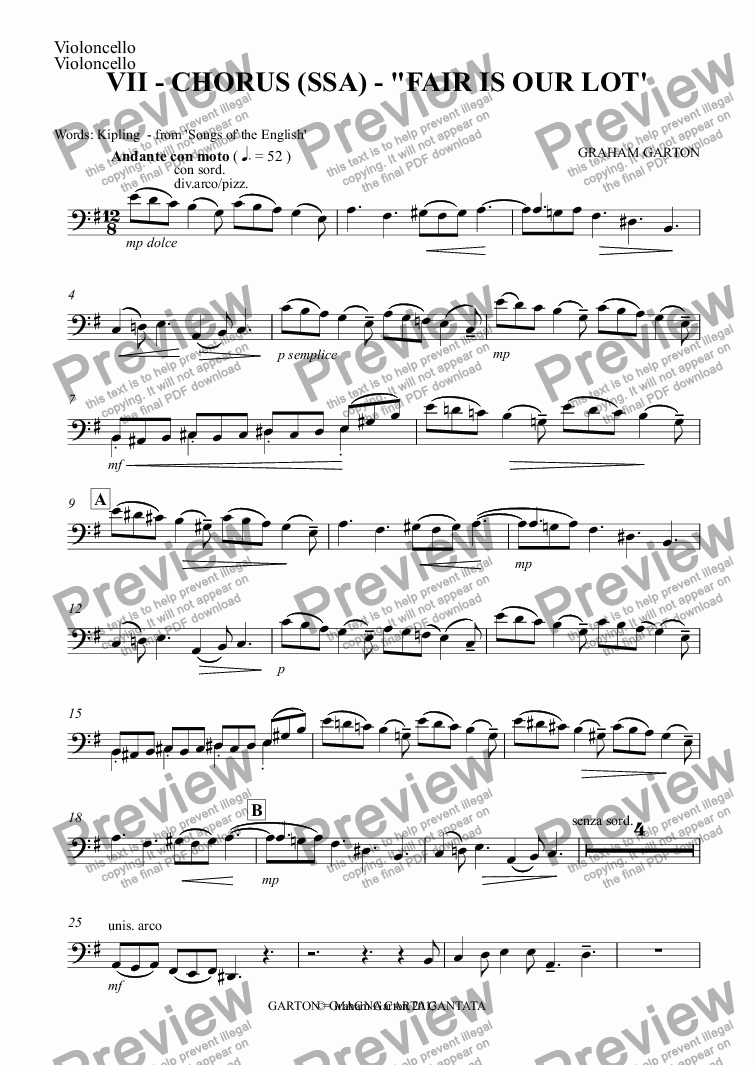 "page one of the Violoncello part from Magna Carta Cantata - No.7 - Full Score - CHORUS (SSA) - ""FAIR IS OUR LOT'"