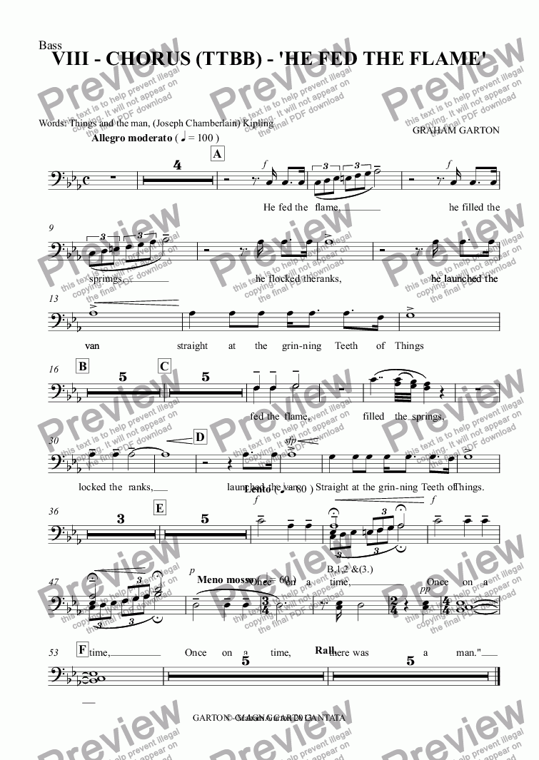 page one of the Bass part from Magna Carta Cantata - No.8 - Full Score - CHORUS (TTBB) - 'HE FED THE FLAME'