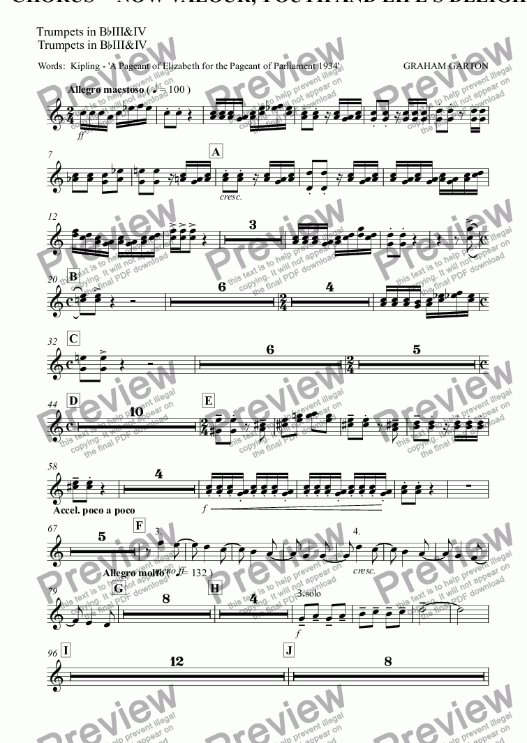 page one of the Trumpets in B^bIII&IV part from Magna Carta Cantata - No.10 - Full Score - CHORUS - 'NOW VALOUR, YOUTH AND LIFE'S DELIGHT' Chorus SATB