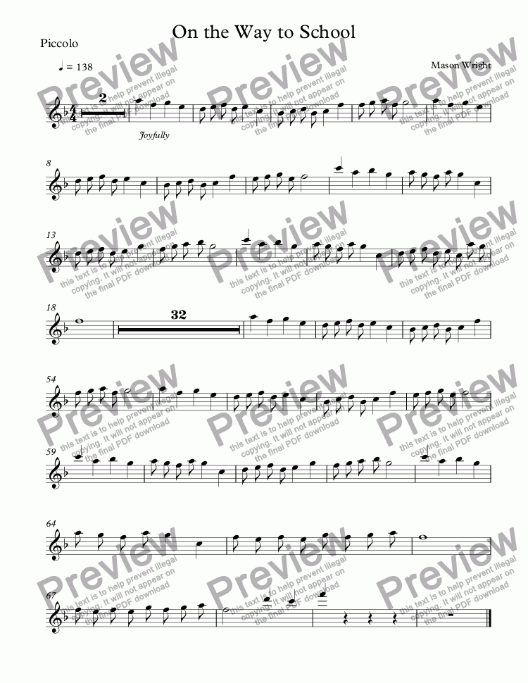page one of the Piccolo part from On the Way to School