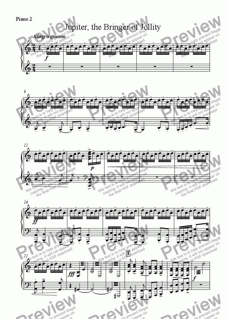 "page one of the Piano 2 part from Jupiter from ""The Planets"" Suite"