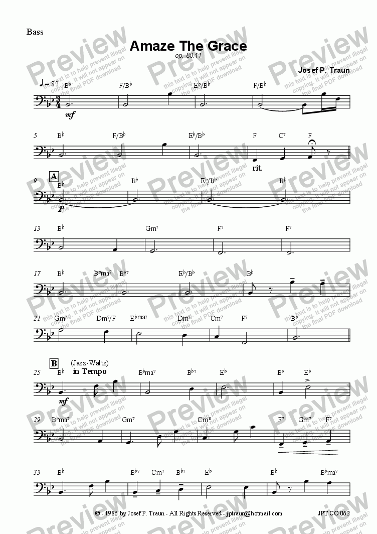 page one of the Bass part from Amaze The Grace (JCO/Score & Parts)