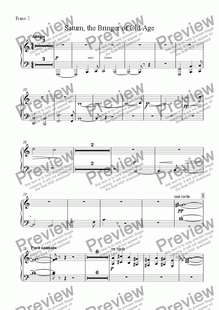 "page one of the Piano 2 part from Saturn from ""The Planets"" Suite"