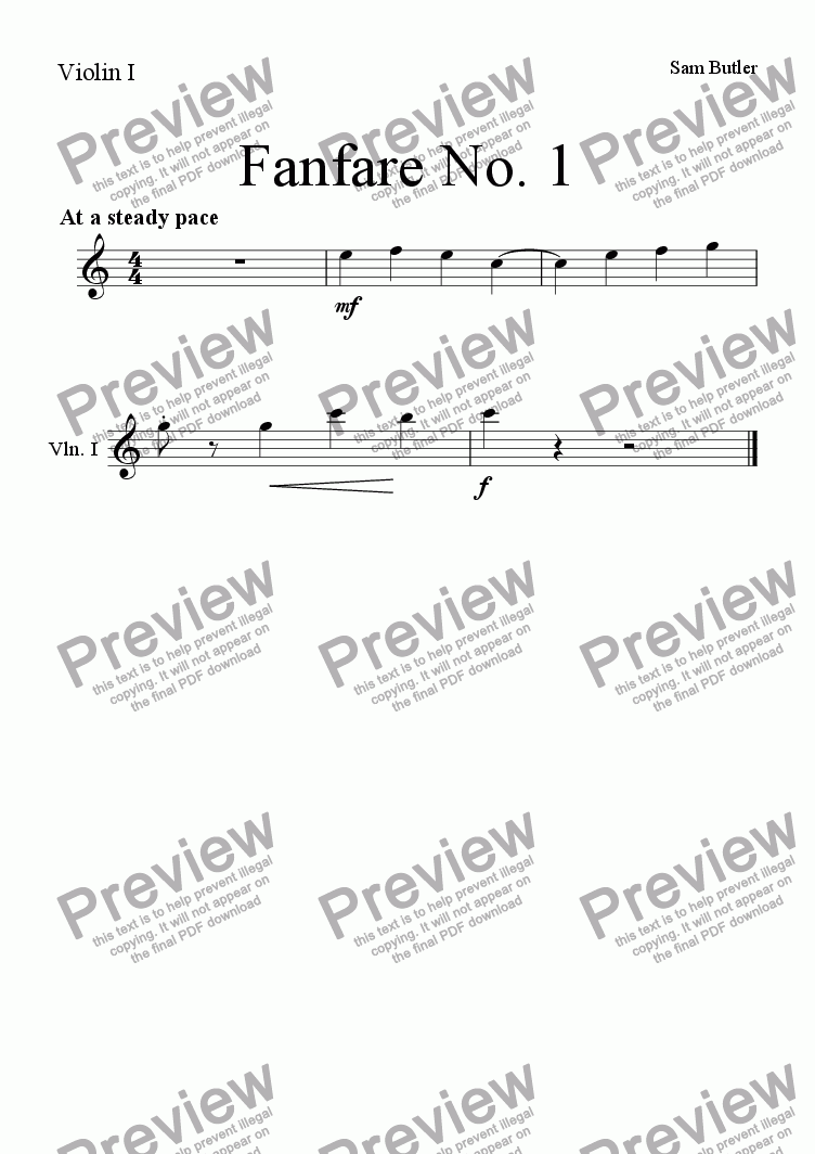page one of the Violin I part from Fanfare in C