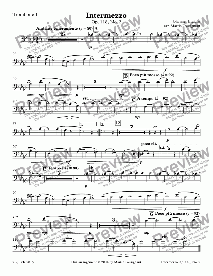 page one of the Trombone 1 part from Intermezzo