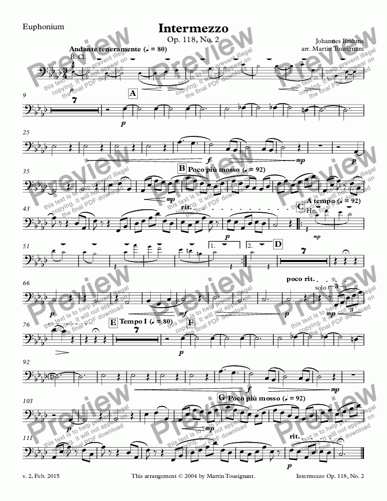 page one of the Euphonium part from Intermezzo