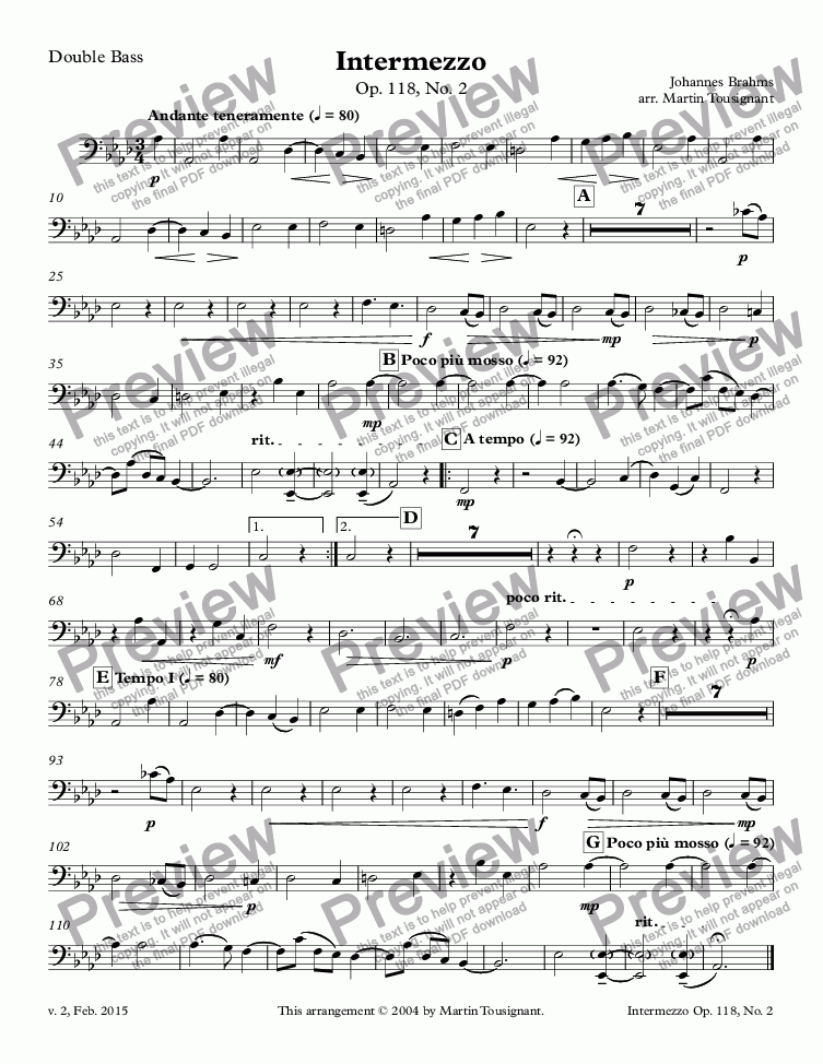 page one of the Double Bass part from Intermezzo