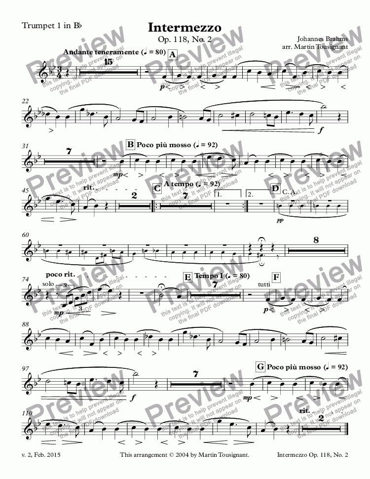 page one of the Trumpet 1 in B^b part from Intermezzo