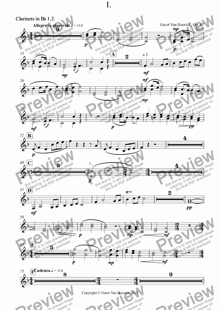 page one of the Clarinets in B^b 1.2^. part from Concerto for bassoon and orchestra, Op. 67 - I. Allegretto piacevole
