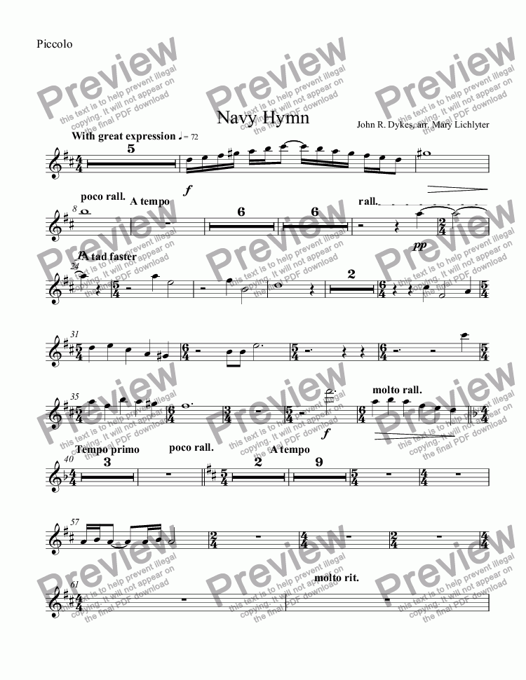 page one of the Piccolo part from Navy Hymn