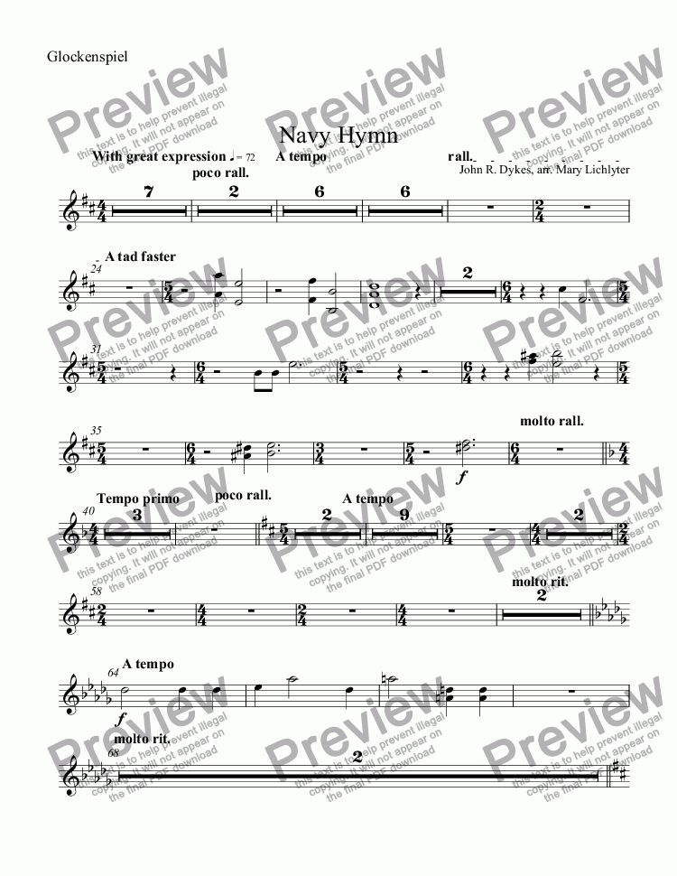 page one of the Glockenspiel part from Navy Hymn