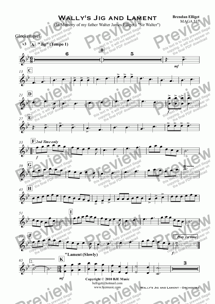 "page one of the Glockenspiel part from Wally's Jig and Lament (In Memory of my father Walter James Elliget - ""Sir Walter"")"