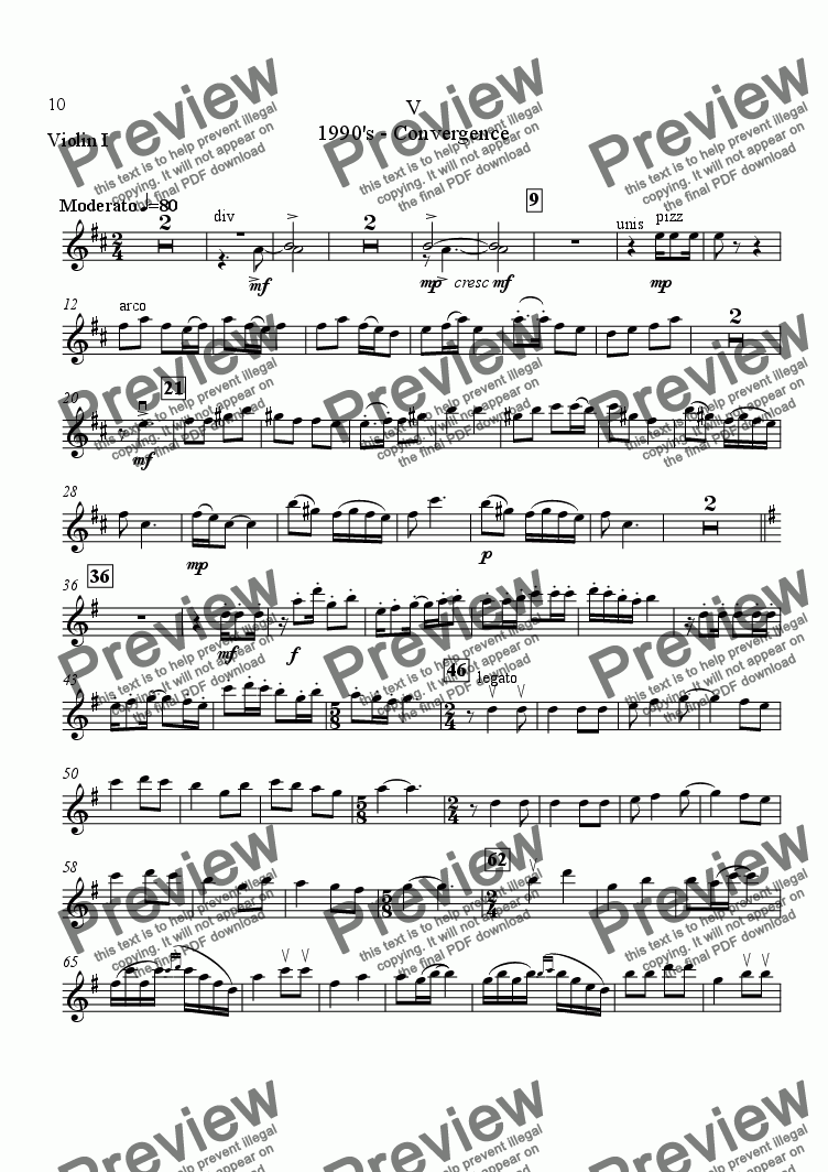 page one of the Violin 1 part from New England Time Capsules - 1990's Convergence