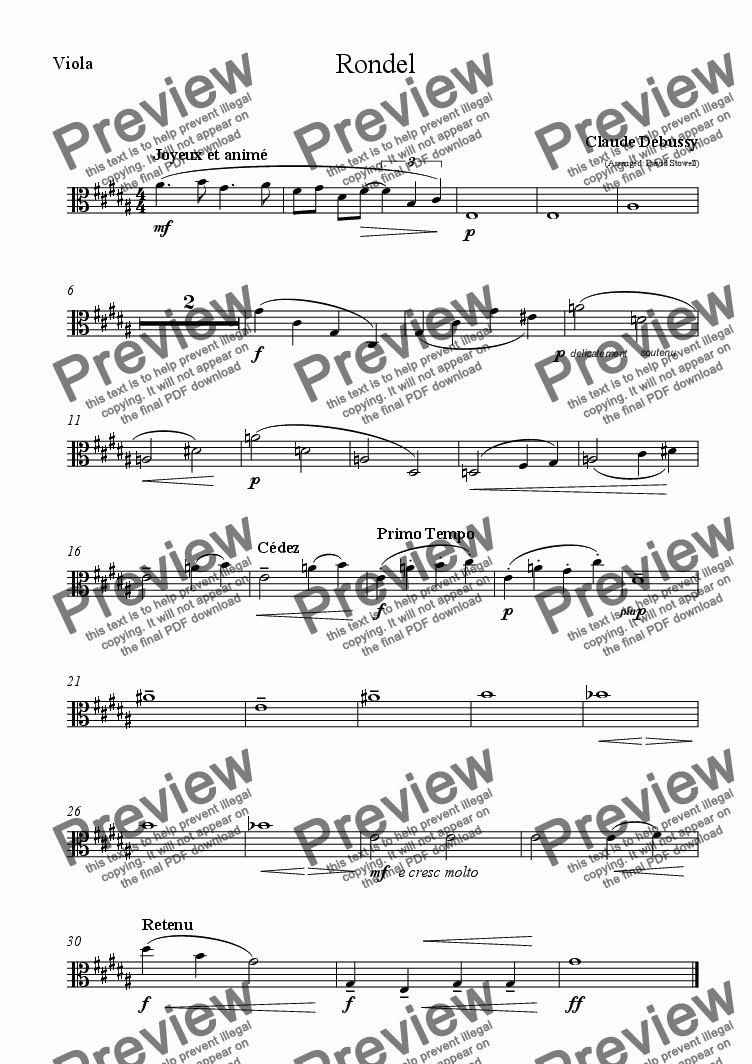 page one of the Viola 1 part from Rondel