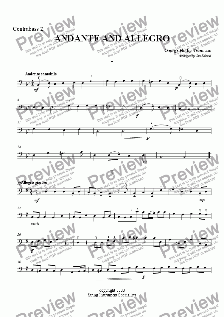 page one of the Contrabass II part from Andante and Allegro