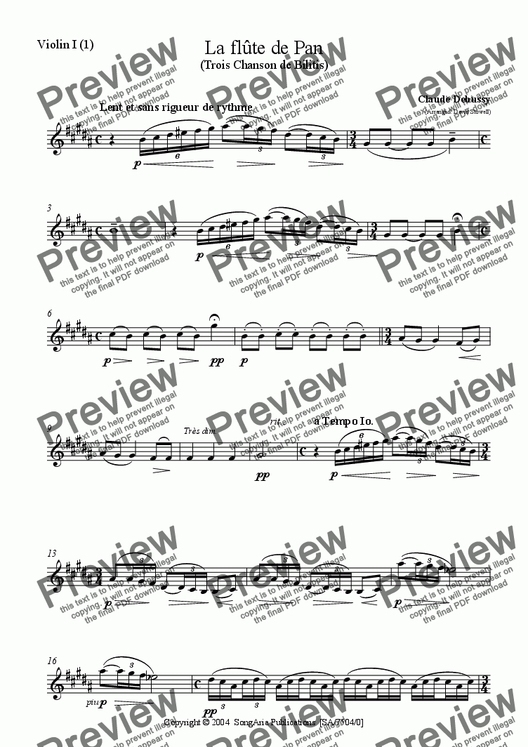 page one of the Violin 1_1 part from La Flute de Pan
