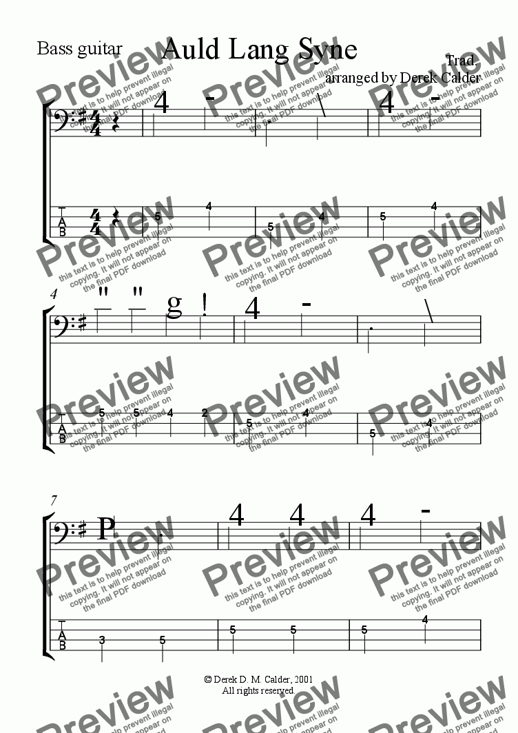page one of the Bass Guitar part from AULD LANG SYNE - multi-instrumental arrangement