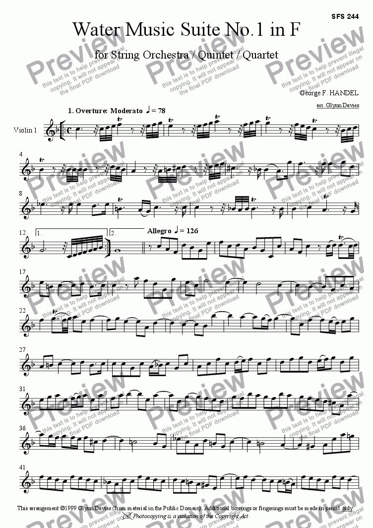 page one of the Violin 1 part from Water Music Suite No.1 in F
