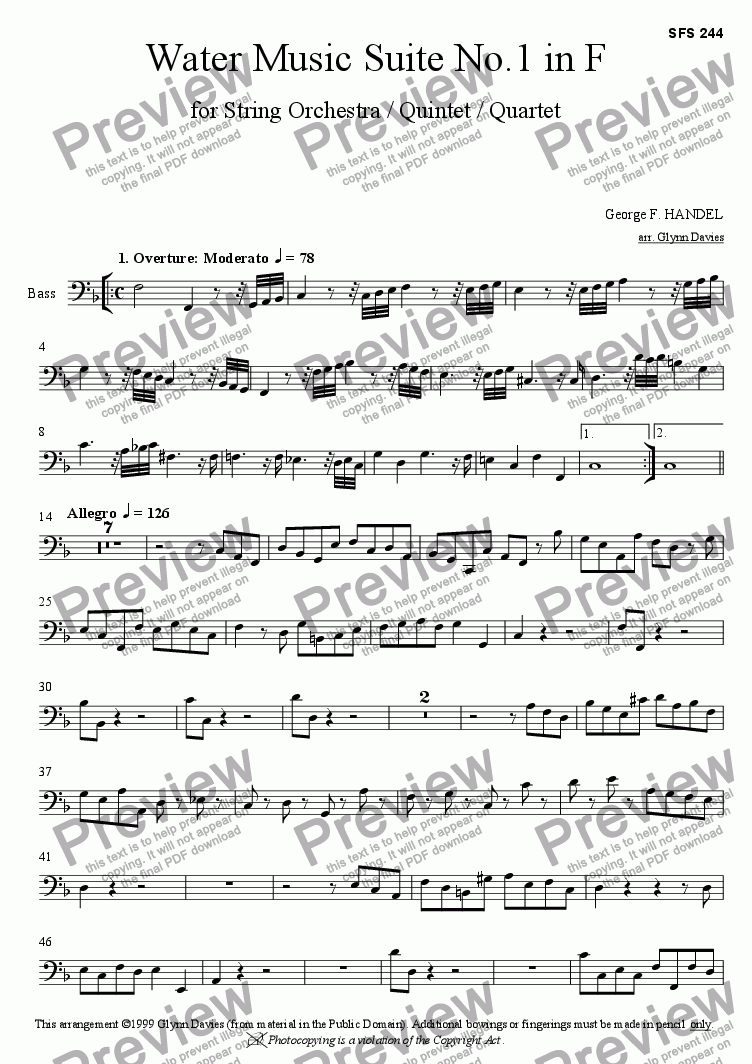page one of the Bass part from Water Music Suite No.1 in F