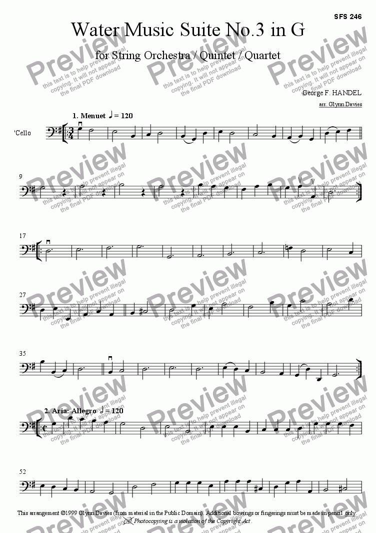 page one of the Cello part from Water Music Suite No.3 in G