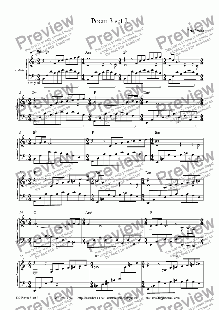 page one of the Piano part from Poem 3 set 2 [piano solo]